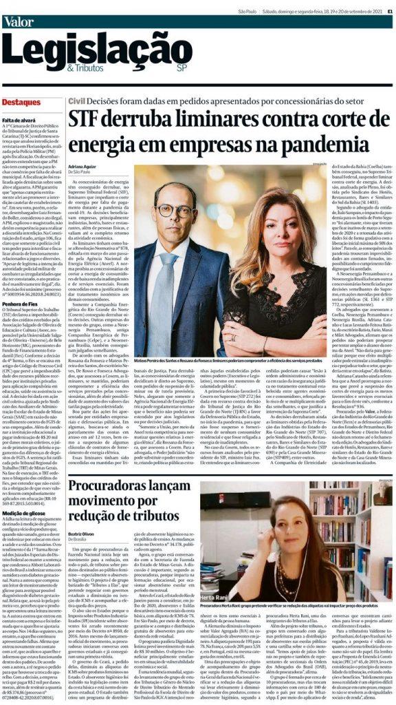 Sócios Mateus Pereira e Rossana Fonseca falam ao Jornal Valor Econômico
